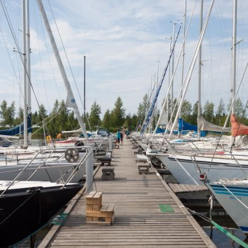 Dock and sailing boats moored at Raahe guest harbour