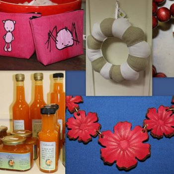 Diverse handicrafts and local food products from Kuutos-Tiimi